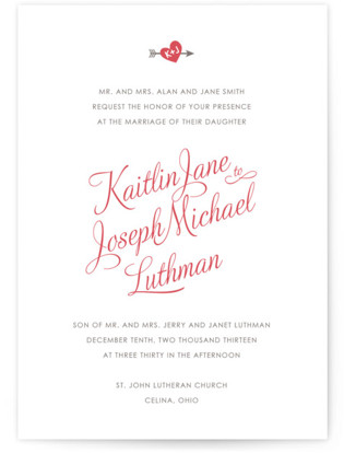 Heartthrob Letterpress Wedding Invitations