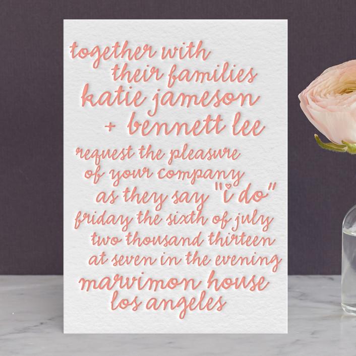 """Charm School"" - Modern, Simple Letterpress Wedding Invitations in Petal by The Social Type."