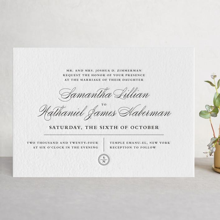 """""""Notable"""" - Vintage, Elegant Letterpress Wedding Invitations in Black by Olivia Raufman."""