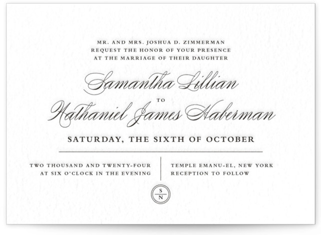 This is a landscape modern, preppy, black Wedding Invitations by Olivia Raufman called Notable with Letterpress printing on 100% Cotton in Classic Flat Card format. Minted's letterpress wedding invitations are created by independent designers. Each invite is printed on thick, ...