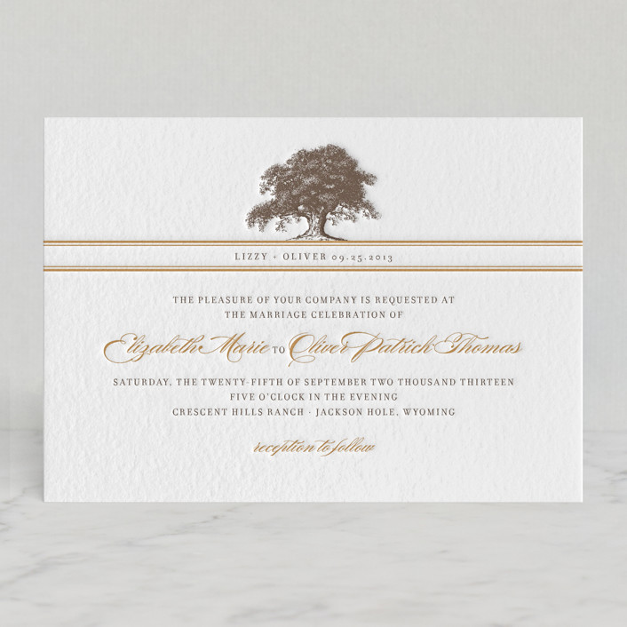 Oak Tree Letterpress Wedding Invitations by annie clark | Minted