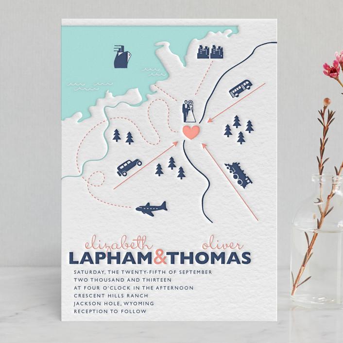 Destination Letterpress Wedding Invitations by leslie hamer Minted