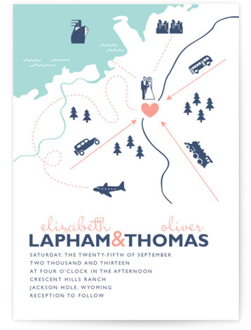 This is a landscape, portrait beach, destination, illustrative, modern, whimsical, blue Wedding Invitations by leslie hamer called Destination with Letterpress printing on 100% Cotton in Classic Flat Card format. Minted's letterpress wedding invitations are created by independent designers. Each invite ...