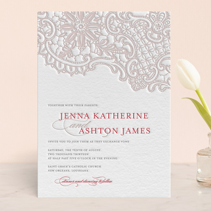 White Lace Letterpress Wedding Invitations by Lauren Chism | Minted