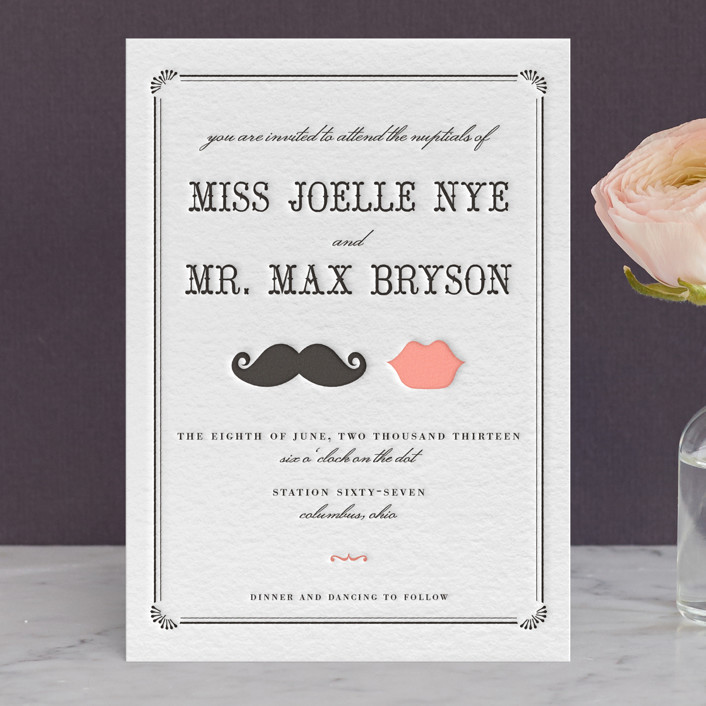 """Stache + Kiss"" - Vintage, Whimsical & Funny Letterpress Wedding Invitations in Black by Penelope Poppy."
