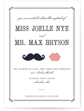 This is a landscape, portrait illustrative, offbeat, vintage, whimsical, black Wedding Invitations by Penelope Poppy called Stache + Kiss with Letterpress printing on 100% Cotton in Classic Flat Card format.