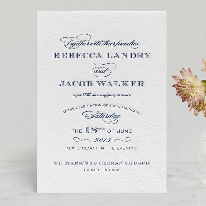 """""""Soiree"""" - Vintage, Elegant Letterpress Wedding Invitations in Black by Sarah Guse Brown."""
