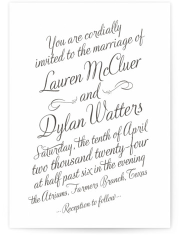 This is a portrait bold and typographic, bold typographic, classic and formal, classical, elegant, modern, simple, simple and minimalist, traditional, vintage, blue Wedding Invitations by Ann Gardner called Just My Type with Letterpress printing on 100% Cotton in Classic Flat ...