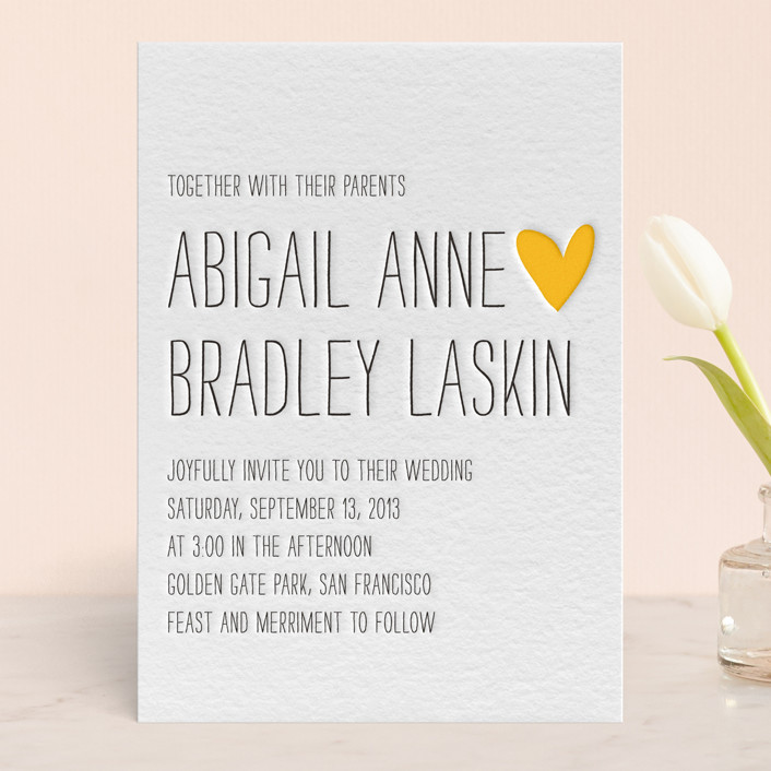 """Passing Notes"" - Modern, Simple Letterpress Wedding Invitations in Black by annie clark."