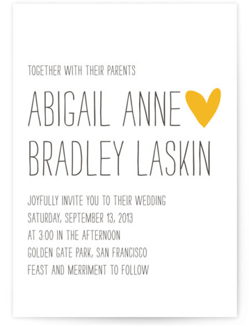 This is a landscape, portrait bold and typographic, hand drawn, modern, whimsical, black Wedding Invitations by annie clark called Passing Notes with Letterpress printing on 100% Cotton in Classic Flat Card format. Minted's letterpress wedding invitations are created by independent ...