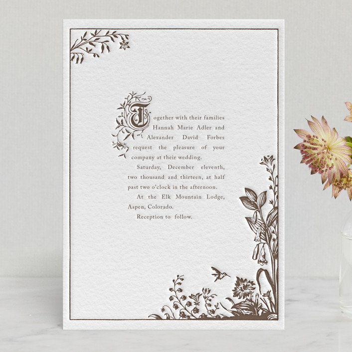 Storybook Rustic Whimsical Funny Letterpress Wedding Invitations In Chocolate By Jody