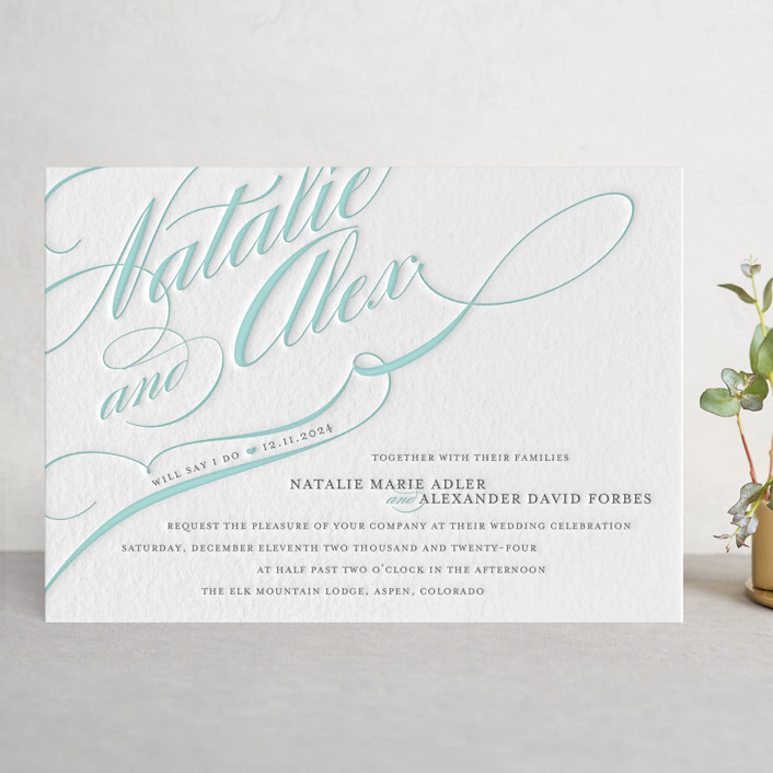 """Winter Flourish"" - Elegant, Formal Letterpress Wedding Invitations in Stone by annie clark."