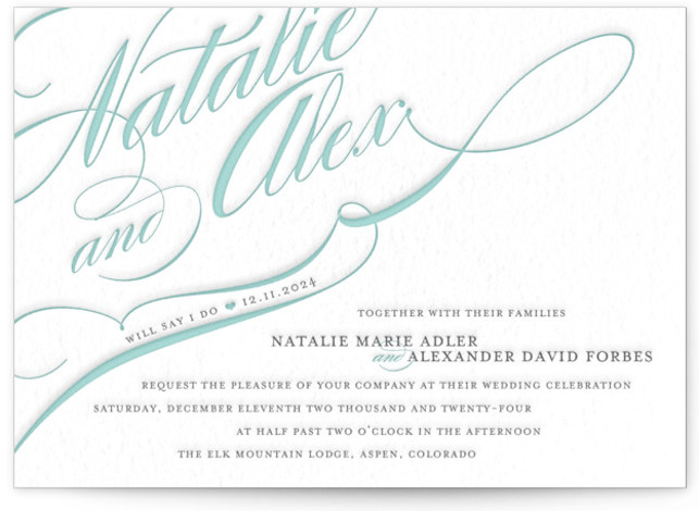 This is a landscape, portrait bold typographic, bold and typographic, classical, elegant, formal, traditional, grey Wedding Invitations by annie clark called Winter Flourish with Letterpress printing on 100% Cotton in Classic Flat Card format.