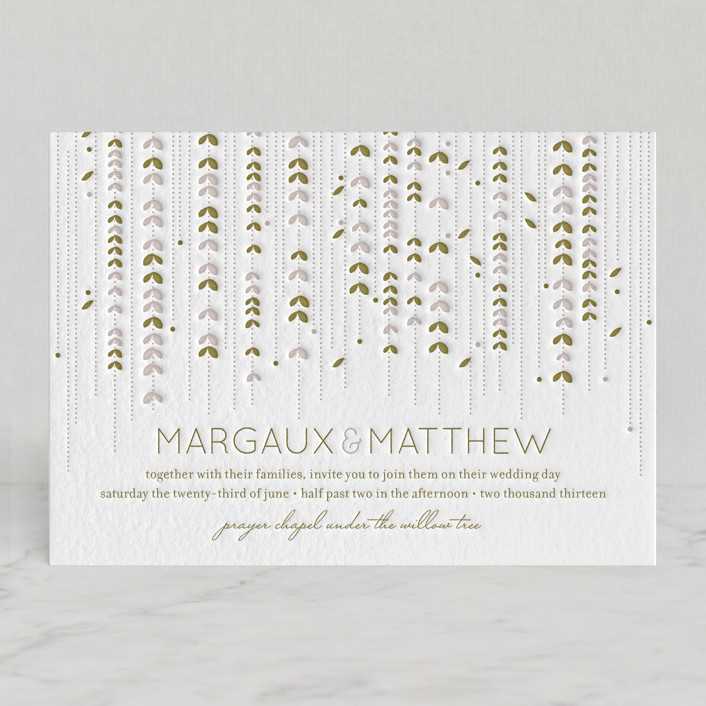 """WILLOW TREE"" - Rustic, Modern Letterpress Wedding Invitations in Grass by sweet street gals."