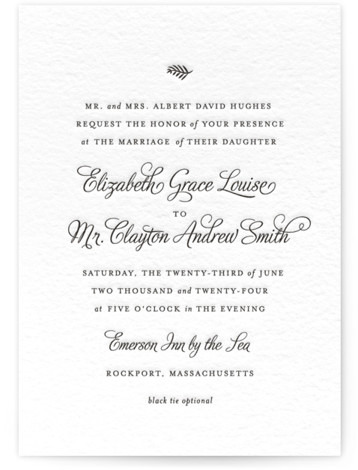 This is a portrait classical, elegant, simple, traditional, black Wedding Invitations by Olivia Raufman called Delicate Grace with Letterpress printing on 100% Cotton in Classic Flat Card format. A clean and classic invitation, featuring a modern script font and delicate ...