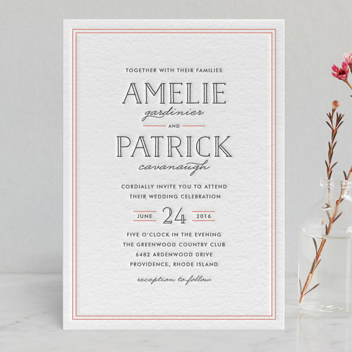 """Inline Type"" - Simple, Classical Letterpress Wedding Invitations in Petal by Hooray Creative."