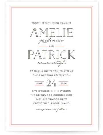 This is a portrait bold and typographic, classical, elegant, simple, pink Wedding Invitations by Hooray Creative called Inline Type with Letterpress printing on 100% Cotton in Classic Flat Card format. Lovely, clean type.