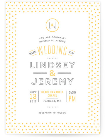This is a portrait monogrammed, simple, yellow Wedding Invitations by Jennifer Wick called Crosby with Letterpress printing on 100% Cotton in Classic Flat Card format. Clean lines and a cheery dotted border rule this fresh and modern wedding invite.
