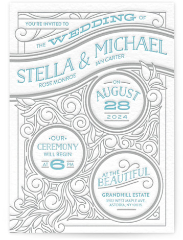 This is a portrait bold typographic, hand drawn, blue Wedding Invitations by GeekInk Design called Antique Press with Letterpress printing on 100% Cotton in Classic Flat Card format. Intricate linework and vintage colors will make this letterpressed wedding invite on ...