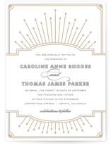 This is a yellow letterpress wedding invitation by Bourne Paper Co. called Modern Deco with letterpress printing on coventry320 in standard.