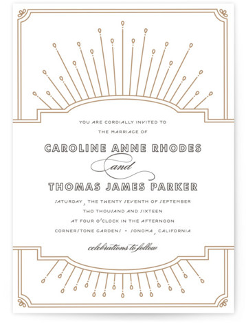 This is a portrait vintage, yellow Wedding Invitations by Bourne Paper Co. called Modern Deco with Letterpress printing on 100% Cotton in Classic Flat Card format. A deco themed starburst background paired with clean, modern fonts.