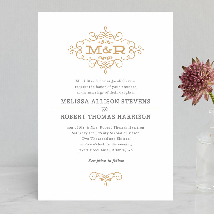 """""""Ornate Monogram"""" - Classical, Monogrammed Letterpress Wedding Invitations in Faux Gold by Kristen Smith."""