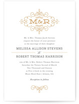 This is a yellow letterpress wedding invitation by Kristen Smith called Ornate Monogram with letterpress printing on coventry320 in standard.