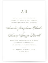 This is a green letterpress wedding invitation by Toast & Laurel called Hepburn with letterpress printing on coventry320 in standard.