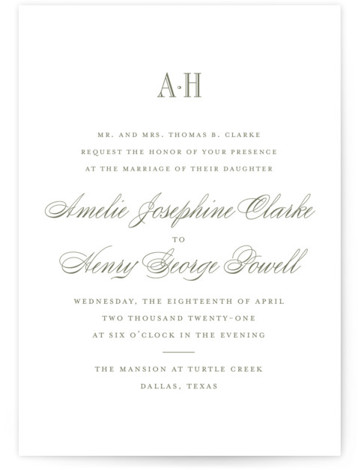 This is a portrait classic formal, classical, elegant, formal, traditional, green Wedding Invitations by Toast & Laurel called Hepburn with Letterpress printing on 100% Cotton in Classic Flat Card format. A timeless & elegant save the date to set the ...