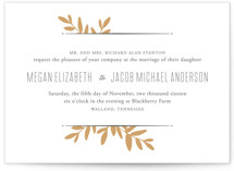 This is a gold letterpress wedding invitation by Oscar & Emma called Boxwood Sprigs with letterpress printing on coventry320 in standard.