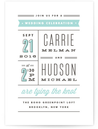 photo of Posted Letterpress Wedding Invitations