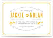 This is a yellow letterpress wedding invitation by Jana Volfova called Delicate Frame with letterpress printing on coventry320 in standard.