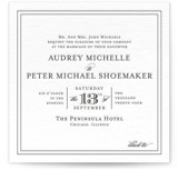This is a black letterpress wedding invitation by Kimberly FitzSimons called First Impression with letterpress printing on coventry320 in standard.