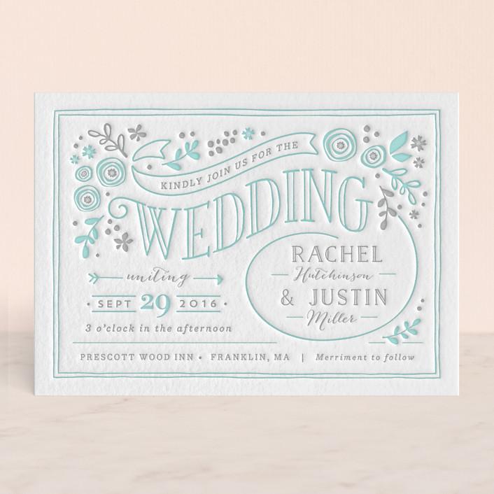 """Alabaster Florals"" - Rustic, Floral & Botanical Letterpress Wedding Invitations in Sea by Jennifer Wick."