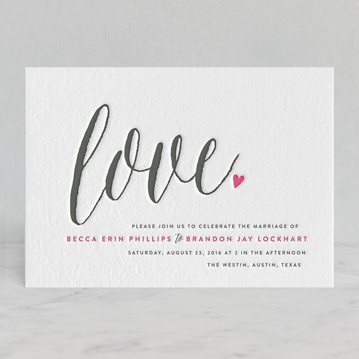 """Charming Love"" - Whimsical & Funny, Simple Letterpress Wedding Invitations in Fuchsia by Melanie Severin."