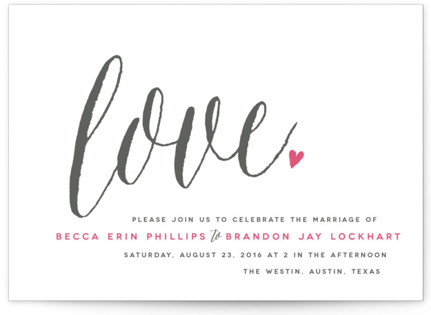 Charming Love Letterpress Wedding Invitations
