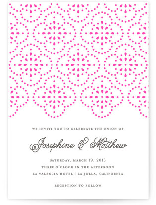 Bohemian Lace Letterpress Wedding Invitations