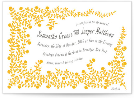 Rose Garden Letterpress Wedding Invitations