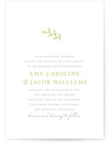 This is a green letterpress wedding invitation by Waldo Press called Leaves with letterpress printing on coventry320 in standard.