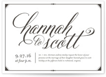 This is a black letterpress wedding invitation by carly reed walker called Fanciful Names with letterpress printing on coventry320 in standard.