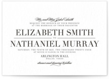 This is a black letterpress wedding invitation by Lauren Chism called Classic with letterpress printing on coventry320 in standard.