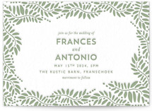 This is a green letterpress wedding invitation by Phrosne Ras called Filigree with letterpress printing on coventry320 in standard.