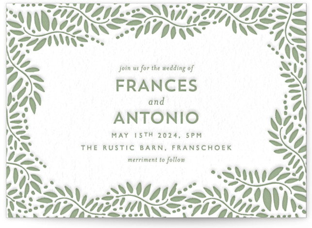 This is a landscape botanical, floral, green Wedding Invitations by Phrosne Ras called Filigree with Letterpress printing on 100% Cotton in Classic Flat Card format. An elegant design for lovers of simplicity, featuring hand illustrated filigree.
