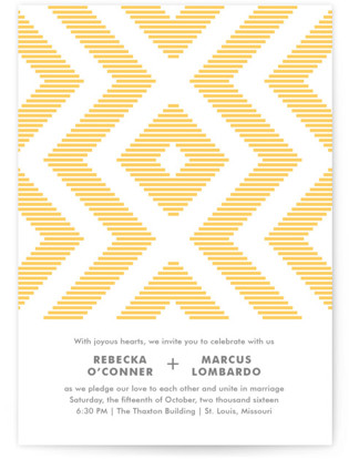 Modern Ikat Letterpress Wedding Invitations