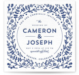 This is a blue letterpress wedding invitation by Lori Wemple called Floral Frame with letterpress printing on coventry320 in standard.