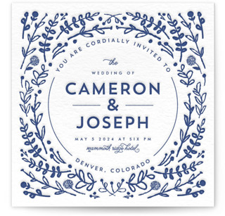 Floral Frame Letterpress Wedding Invitations