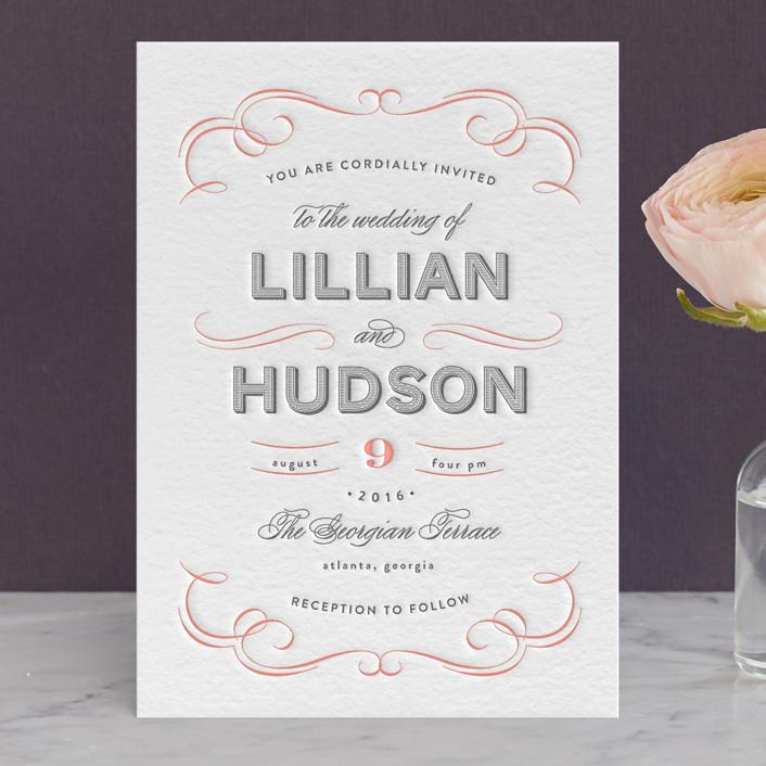 """Doux Amour"" - Elegant, Elegant Letterpress Wedding Invitations in Warm Grey by Olivia Raufman."