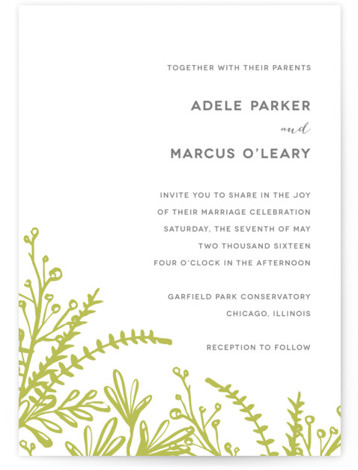 This is a portrait botanical, floral, green Wedding Invitations by Kelly Ventura called Garden with Letterpress printing on 100% Cotton in Classic Flat Card format. This invitation features lovely garden sprays with clean, modern type