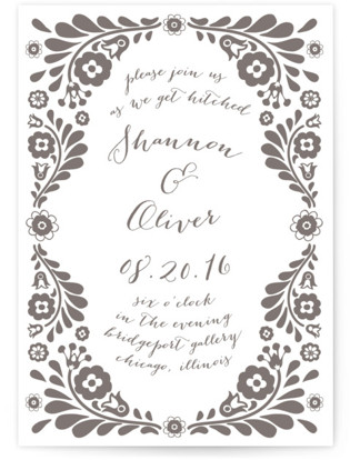 Folk Floral Garden Letterpress Wedding Invitations