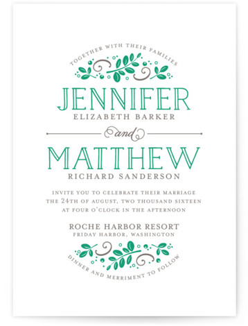 This is a portrait botanical, floral, green Wedding Invitations by Jessica Williams called Botanical with Letterpress printing on 100% Cotton in Classic Flat Card format. Delicate greenery and soft colors accent this wedding invitation featuring classic type.